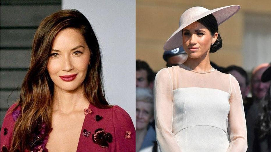 Olivia Munn, left, calls out Meghan Markle's sister, Samantha, over her recent comments.
