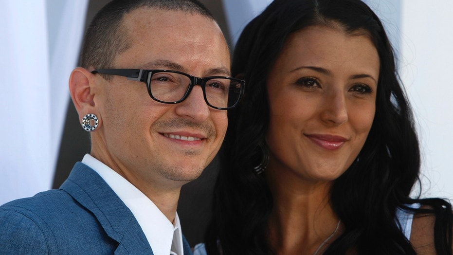 Chester Bennington's wife and Linkin Park bandmates paid tribute to the late singer on the first anniversary of his death.