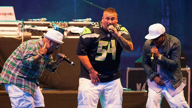 SEATTLE, WA - AUGUST 27:  Mark Calderon, Bryan Adams and Kevin Thornton of Color Me Badd perform on stage during the I Love The 90s Tour at Marymoor park on August 27, 2016 in Redmond, Washington  (Photo by Suzi Pratt/WireImage)