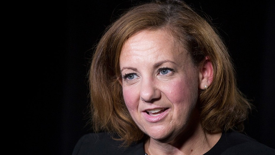 """HOLD FOR STORY BY MICHAEL SISAK Wendy Jaffe, the former executive vice president of legal affairs for Lionsgate Entertainment, talks during an interview, Tuesday, July 24, 2018, in New York. Jaffe, a former lawyer at the movie studio behind """"The Hunger Games,"""" says a powerful boss she once viewed as a father figure demanded she be his slave and subjected her to nonconsensual sexual contact. (AP Photo/Mark Lennihan)"""