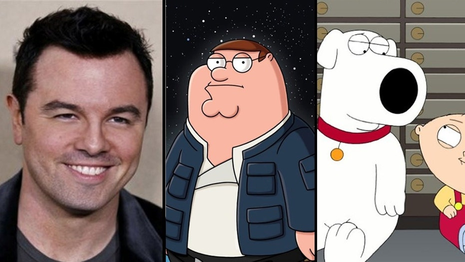 """Seth MacFarlane, left, voices Peter Griffin, Brian Griffin and Stewie Griffin in the long-running animated Fox comedy """"Family Guy."""""""