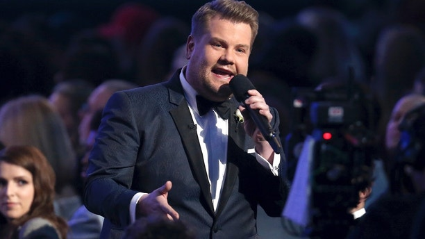 James Corden speaks from the audience at the 60th annual Grammy Awards at Madison Square Garden on Sunday, Jan. 28, 2018, in New York.