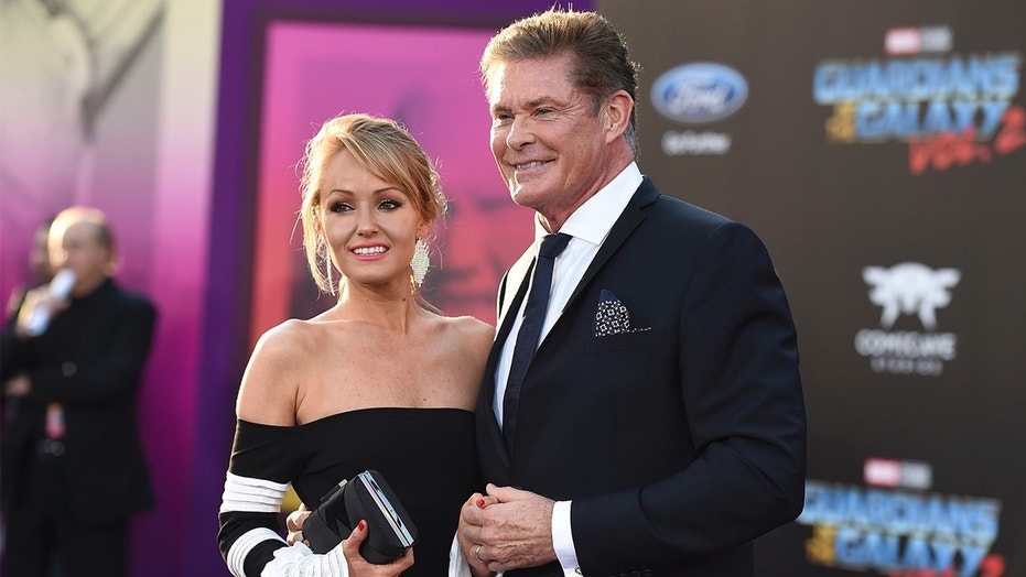 """In this April 19, 2017 file photo, Hayley Roberts, left, and David Hasselhoff arrive at the world premiere of """"Guardians of the Galaxy Vol. 2"""" in Los Angeles. Hasselhoff's publicist confirmed Tuesday, July 31, that the actor has married model Hayley Roberts."""