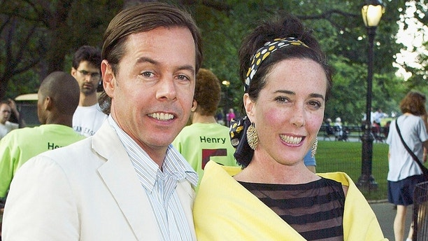 """NEW YORK - JULY 15: (HOLLYWOOD REPORTER & U.S. TABS OUT) Designers Andy and Kate Spade during a party to celebrate the opening night of """"Henry V"""" as part of """"Shakespeare In The Park"""" to benefit The Public Theater July 15, 2003 at the Delacorte Theater in Central Park, New York City. (Photo by Scott Gries/Getty Images)"""