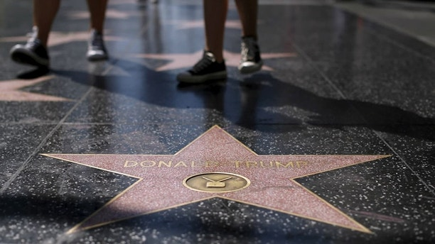 The star of U.S. Republican presidential candidate Donald Trump is pictured on the Hollywood Walk of Fame in Hollywood, California April 5, 2016. REUTERS/Mario Anzuoni