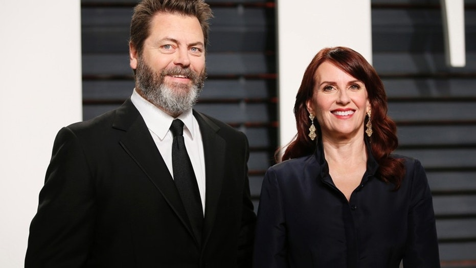 Actress Megan Mullally and husband Nick Offerman at the Oscars Vanity Fair Party, February, 2, 2017.