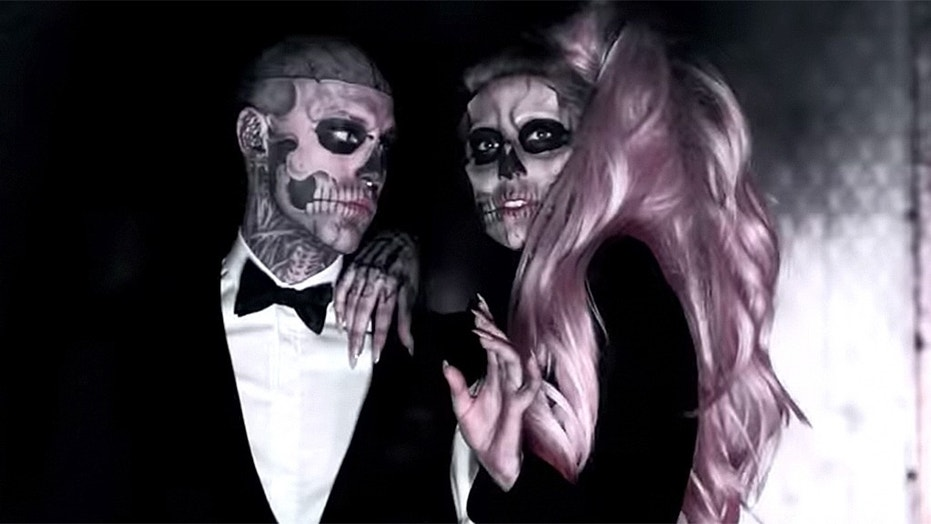 "Zombie Boy (left) appeared in Lady Gaga's music video for ""Born This Way."""