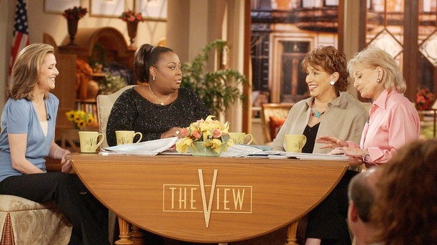 """Meredith Vieira, left, Star Jones, Joy Behar and Barbara Walters appear on the set of ABC's """"The View"""" in New York, June 5, 2003. The show's co-hosts have their first live primetime special planned, """"The View: His & Her Body Test,"""" airing June 16, 2003 at 10 p.m. EDT, which will feature celebrity appearances and a real-time quiz on health issues that viewers can take from home. (AP Photo/Ed Bailey)"""