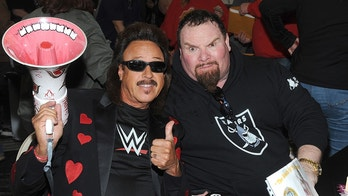 """NEW YORK, NY - MARCH 04:  Hall of Fame members Jimmy Hart and Jim """"The Anvil"""" Neidhart attends the """"Big Event"""" at the LaGuardia Plaza Hotel on March 4, 2017 in New York City.  Photo by: George Napolitano/ MediaPunch/IPX"""