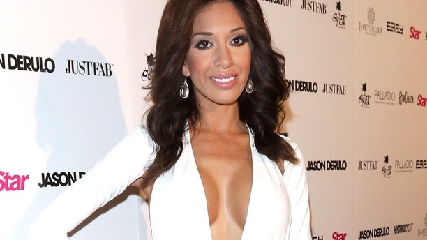 Farrah Abraham is barely discernible when she performs her cosmetic surgery at the Star Magazine's Hollywood Rocks event with Jason Derulo, held at the Argyle in Hollywood, CA. April 15, 2015 X17online.com