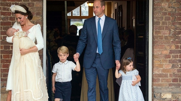 Britain's Prince William and Kate, Duchess of Cambridge with their children Prince George, Princess Charlotte Prince Louis as they arrive for Prince Louis' christening service at the Chapel Royal, St James's Palace, London, Monday, July 9, 2018. (Dominic Lipinski/Pool Photo via AP)
