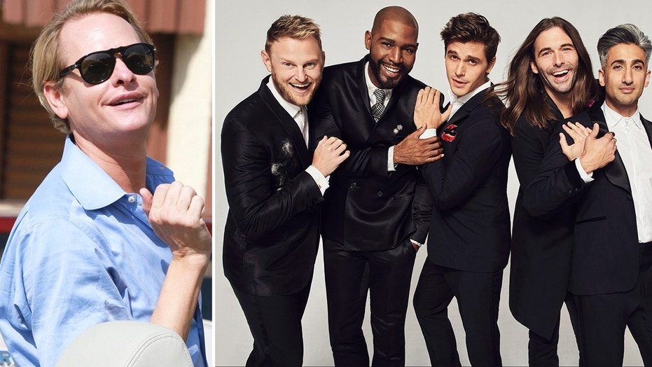 "Carson Kressley, left, who starred on the original series ""Queer Eye For The Straight Guy,"" made a subtle dig at the cast of the Netflix reboot ""Queer Eye."" From l-r after Kressley: Bobby Berk, Karamo Brown, Antoni Porowski, Jonathan Van Ness and Tan France."