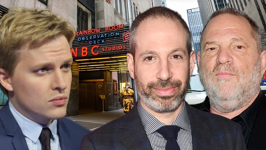 """Ronan Farrow, left, had received a high-level order to lay off his reporting on Harvey Weinstein, right, according to a former producer. NBC News President Noah Oppenheim, center, said the producer """"was never told to stop in the way he's implying."""""""