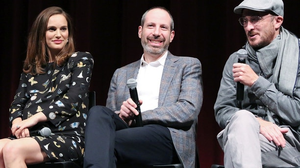 "(LR) Natalie Portman, Noah Oppenheim, and Dar Aronofsky participates in a podium discussion after the film Official performance of ""Jackie"" hosted by the Academy of Motion Picture Arts and Sciences at MOMA on November 29, 2016 in New York City."