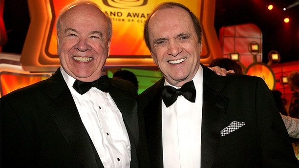 SANTA MONICA, CA - MARCH 13: Actor Tim Conway (L) and Bob Newhart in the audience at the 2005 TV Land Awards at Barker Hangar on March 13, 2005 in Santa Monica, California. (Photo by Vince Bucci / Getty Images)