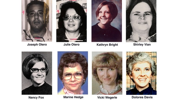 ** CORRECTS SPELLING TO DOLORES, INSTEAD OF DELORES - FILE ** Eight of the 10 people whose deaths have been linked by authorities to the BTK serial killer are shown in undated file photos. In the top row are, from left, Joseph Otero and his wife, Julie Otero; Kathryn Bright; and Shirley Vian. In the bottom row are, from left, Nancy Fox, Marine Hedge, Vicki Wegerle and Dolores Davis. Dennis Rader was charged Tuesday, March 1, 2005, with 10 counts of first-degree murder. (AP Photo/The Wichita Eagle, file)