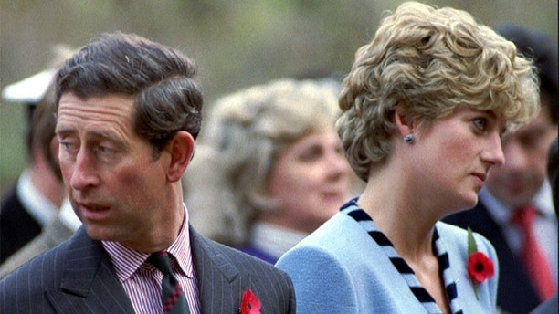 Princess Diana and Prince Charles look in different directions, November 3, during a service held to commemorate the 59 British soldiers killed in action during the Korean War. - PBEAHUNIVAX