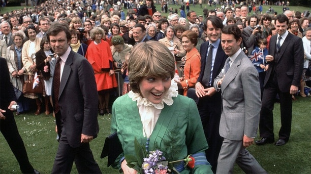 Prince Charles and Lady Diana Spencer visit Broadlands shortly after their engagement, March 1981. (Photo by Kypros/Getty Images)