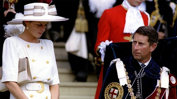 FILE PHOTO JUN92- Prince Charles never loved Princess Diana, and was forced into an empty marriage by his domineering father according to a new authorised biography serialised in the Sunday Times October 16. Picture shows the Prince and Princess at the Garter ceremony at Windsor Castle in 1992 - PBEAHUNICDN