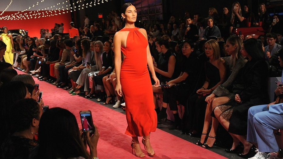 Pregnant model Lily Aldridge was part of Brandon Maxwell's Spring/Summer 2019 show.