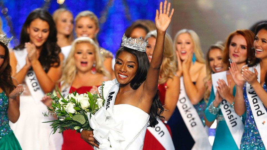 Miss New York Nia Franklin reacts after being named Miss America 2019, Sunday, Sept. 9, 2018, in Atlantic City, N.J. (AP Photo/Noah K. Murray)