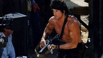 """Sylvester Stallone filming the movie RAMBO: FIRST BLOOD PART III """" in Afghanistan. !st ran in LA TIMES, 10?11?87. photo by ^^^/LA Times. SUNDAY MOVIE PAGE OCT 28  (Photo by Gary Friedman/Los Angeles Times via Getty Images)"""