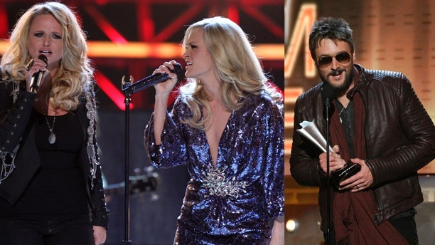 """Eric Church accepts the album of the year award for """"Chief"""" during the 48th ACM Awards in Las Vegas April 7, 2013. REUTERS/Mario Anzuoni  (UNITED STATES  Tags: Entertainment) (ACM-SHOW) - RTXYCQA"""