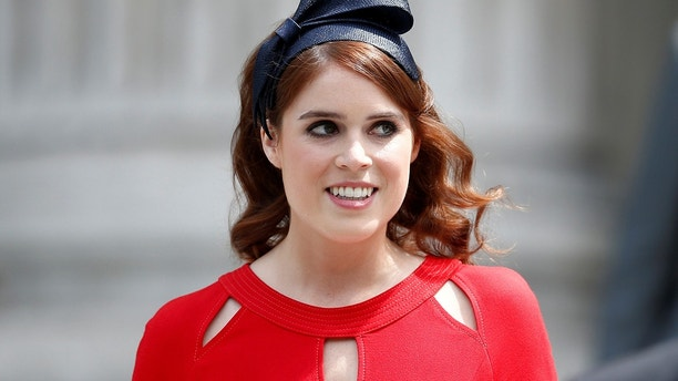 Britain's Princess Eugenie leaves after a service of thanksgiving for Queen Elizabeth's 90th birthday at St Paul's Cathedral in London, Britain, June 10, 2016.