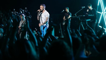 """THE VOICE -- """"Live Top 12"""" Episode 1415B -- Pictured: Adam Levine with Maroon 5 -- (Photo by: Trae Patton/NBC/NBCU Photo Bank via Getty Images)"""