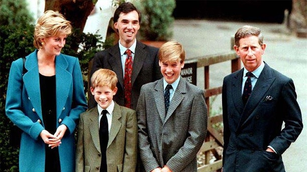 FILE PHOTO OF 6SEPT95 - The Prince and Princess of Wales, Prince Harry, and housemaster Dr Andrew Gayley (behind) escort Prince William (2R), second in line to the throne, for his first day of term at the world famous Eton College September 6, 1995. Princess Diana and her millionaire companion Dodi Al Fayed were killed in a car crash August 31 in Paris after being chased by photographers on motorcycles.