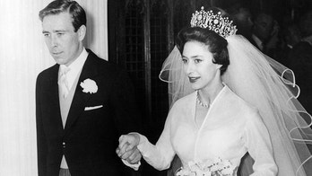 Princess Margaret and Antony Armstrong-Jones leaving Westminster Abbey on their wedding day.