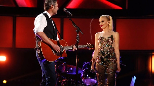 "Blake Shelton (left) and Gwen Stefani perform on NBC's ""The Voice."""