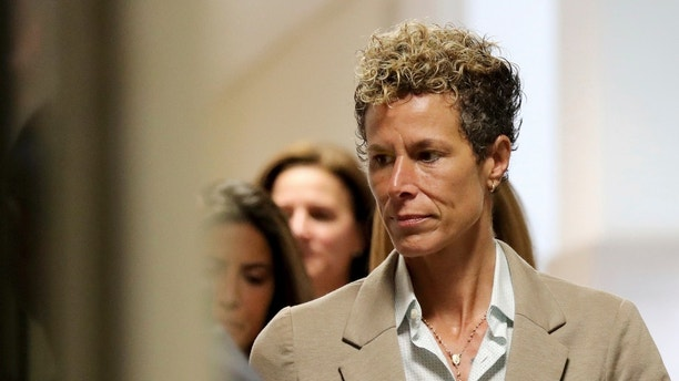 Andrea Constand arrives at the sentencing hearing for the sexual assault trial of Bill Cosby at the Montgomery County Courthouse in Norristown, Pa., Monday, Sept. 24, 2018. Cosby was the first celebrity to go to trial in the #MeToo era and could be the first to go to prison — perhaps for the rest of his days — after being convicted in April of violating Temple University employee Constand at his suburban Philadelphia home in 2004. (David Maialetti/The Philadelphia Inquirer via AP, Pool)