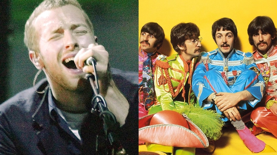 Chris Martin of Coldplay, left, and rock band The Beatles, right.