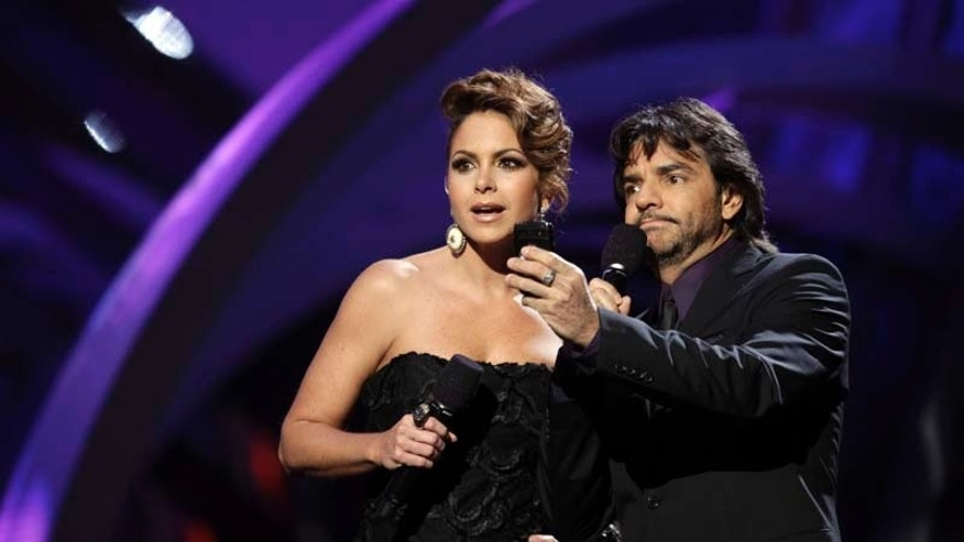Lucero, left, and Eugenio Derbez are seen onstage at the 11th Annual Latin Grammy Awards on Thursday, Nov. 11, 2010, in Las Vegas. (AP Photo/Julie Jacobson)