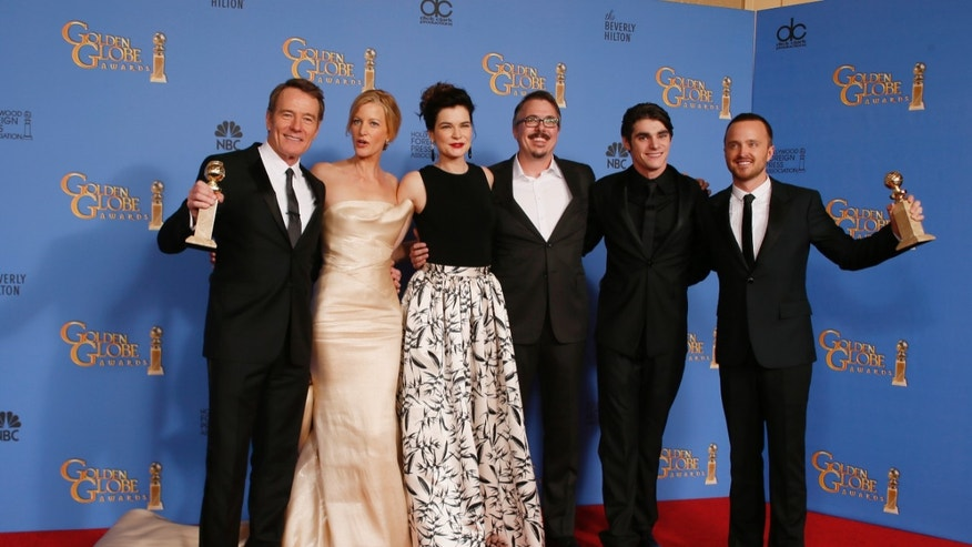 "The cast of ""Breaking Bad"" pose backstage after they won the award for Best TV Series, Drama and after Brian Cranston (L) won for Best Actor in a TV Series, Drama at the 71st annual Golden Globe Awards in Beverly Hills, California January 12, 2014.   REUTERS/Lucy Nicholson (UNITED STATES  - Tags: ENTERTAINMENT)  (GOLDENGLOBES-BACKSTAGE) - RTX17BLE"