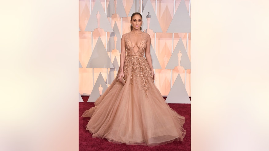 Jennifer Lopez arrives at the Oscars on Sunday, Feb. 22, 2015, at the Dolby Theatre in Los Angeles. (Photo by Jordan Strauss/Invision/AP)