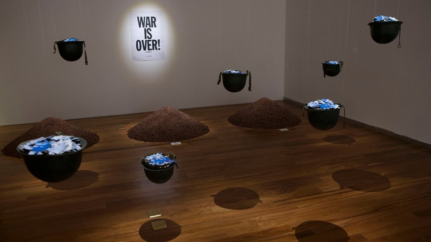 "Yoko Ono's work ""Cut Piece"" is seen on display inside the Museum of Memory and Tolerance, during a press visit to promote the opening of Ono's show ""Land of Hope,"" in Mexico City, Tuesday, Feb. 2, 2016. (AP Photo/Rebecca Blackwell)"