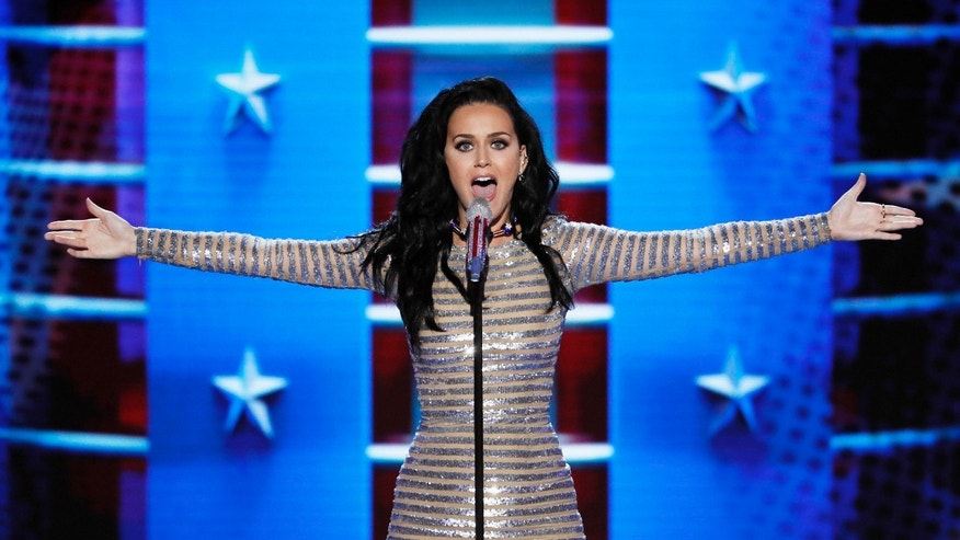 Singer Katy Perry performs during the final day of the Democratic National Convention in Philadelphia , Thursday, July 28, 2016. (AP Photo/J. Scott Applewhite)
