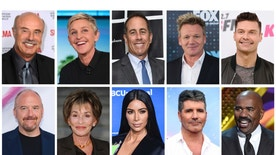 This combination photo shows TV personalities, top row from left,  Dr. Phil McGraw, Ellen DeGeneres, Jerry Seinfeld, Gordon Ramsay, Ryan Seacrest and bottom row from left, Louis C.K., Judy Sheindlin,  Kim Kardashian West, Simon Cowell and Steve Harvey, who are among some of the world's top-earning TV entertainers in 2017, according to Forbes magazine.  (AP Photo, File)