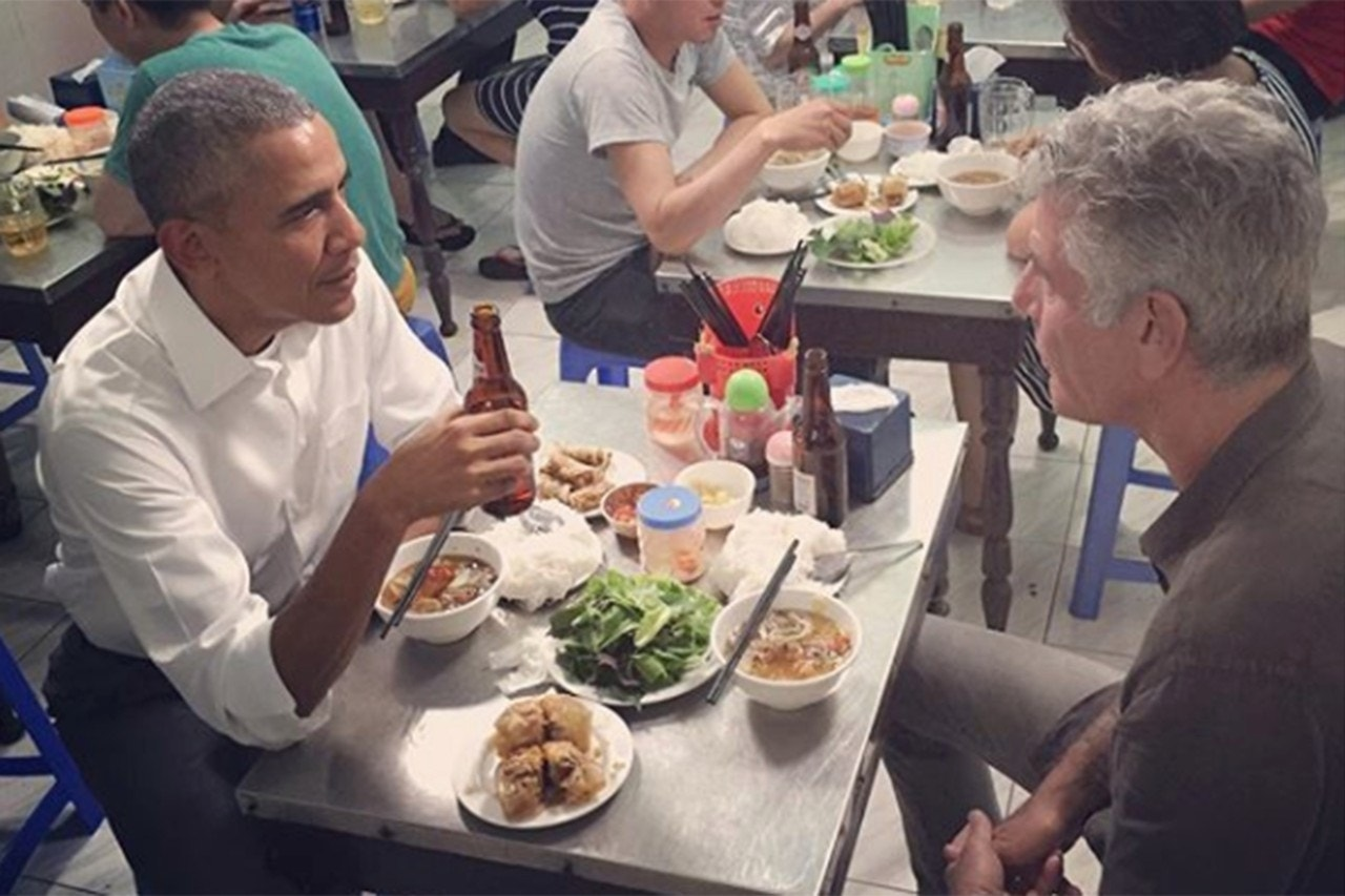 President Barack Obama with Anthony Bourdain in Hanoi, Vietnam May 24, 2016