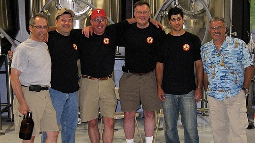 Mike McCreary with Hatch Plug, Nomad, Big Wally, assistant brewer Justin and their friend Tony, another Iraq Vet