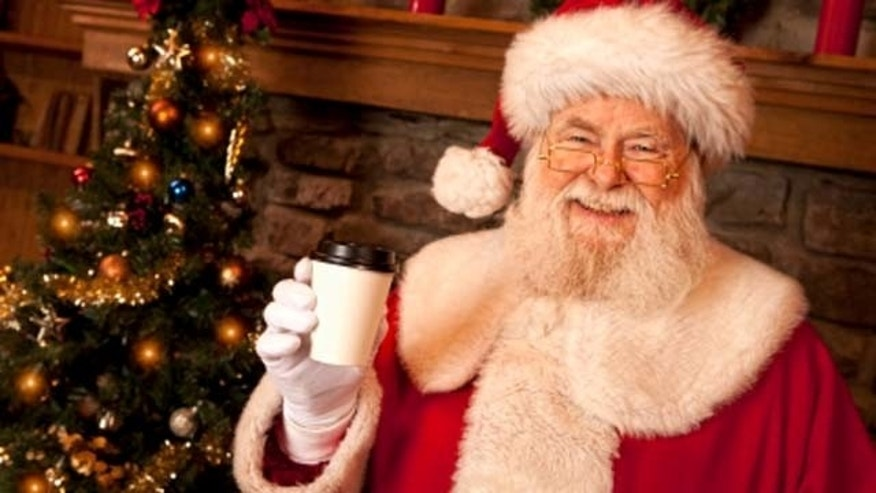 Hey, Santa what's in the coffe cup?  Looks like you're hiding a Silent Night Chocolate Martini.