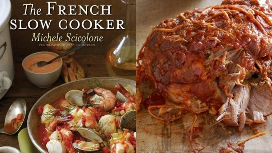 Cover of Michele Scicolone's new cookbook, The French Slow Cooker and Chunky Pork Shoulder Ragu from her previous book, The Italian Slow Cooker.
