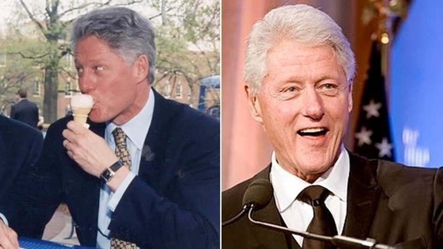 Clinton, eating ice cream during his 'anything goes years,' compared with his healthy-diet years.