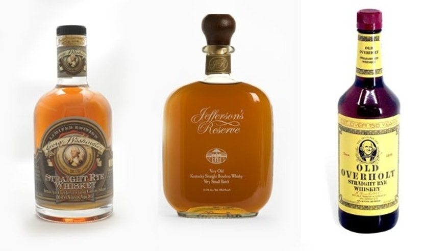 From left to right: George Washington Straight Rye Whiskey comes from our first president's Mount Vernon distillery, made to Washington's own recipe. Jefferson's Reserve pays homage to bourbon produced by Thomas Jefferson himself at Monticello and Old Overholt was one of Abraham Lincoln's favorite whiskeys.