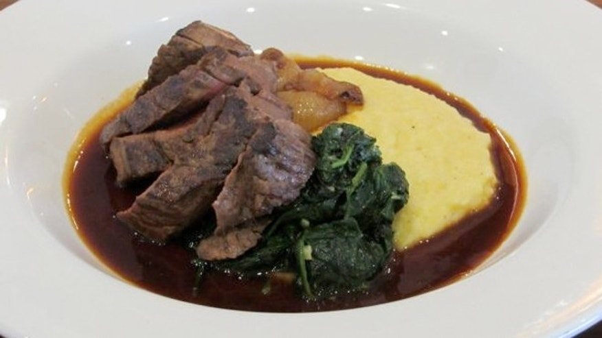Petit filet mingnon with smoked Bouda polenta, spinich and cipollini