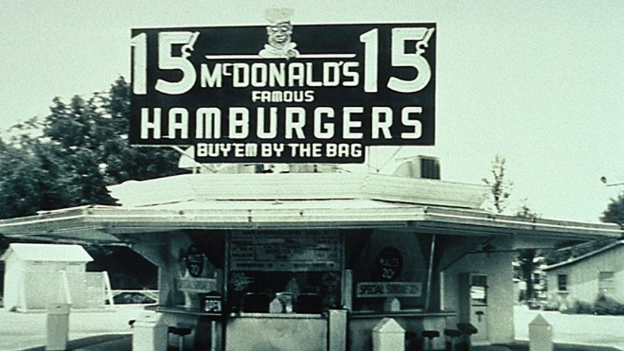 McDonald Brother's store in San Bernadino, California with a 15-cent hamburger sign.
