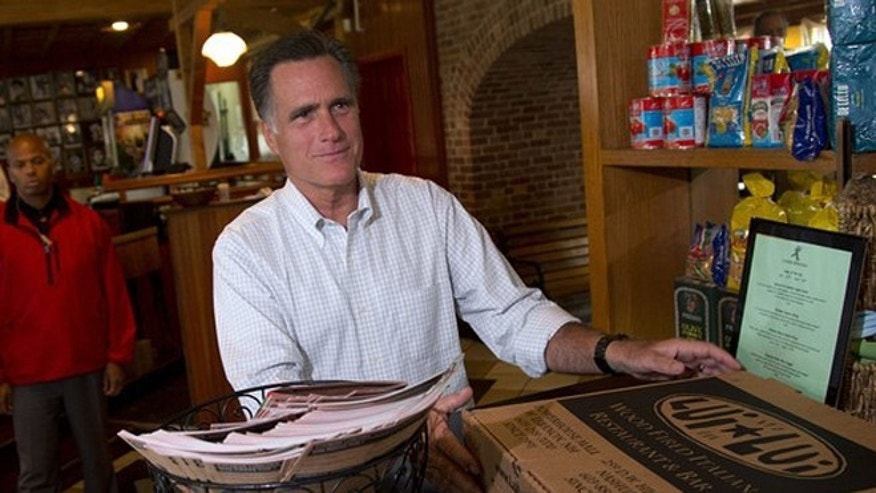 Sept. 5, 2012: Republican presidential candidate Mitt Romney stops by Lui Lui Restaurant in West Lebanon, N.H.