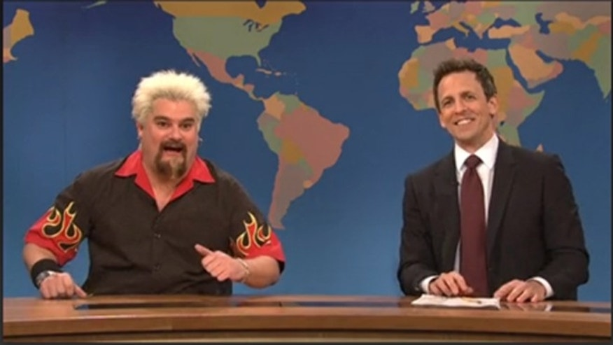 "Bobby Moynihan as Guy Fieri on the SNL skit that never made it to air. Weekend Update host Seth Meyers gives the review to read, which makes the ""Diners, Drive-In and Dives"" host impersonator feel ""pretty half throttle."""